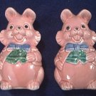 Adorable Vintage Pink Rabbit~Bunny~ Salt And Pepper Shakers~Japan~Easter!