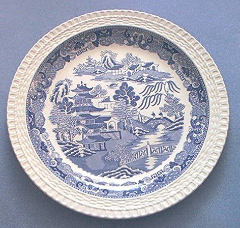 Spode~Blue Room Collection~Willow Series~Plate~Two Temples~BLUE AND WHITE