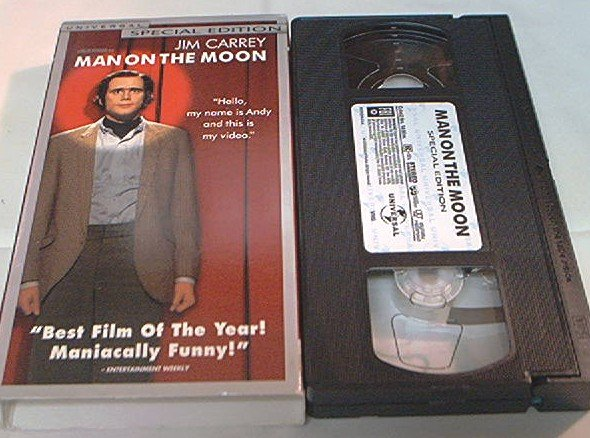 MAN ON THE MOON~VHS~JIM CARREY~COURTNEY LOVE~DANNY DEVITO~1999