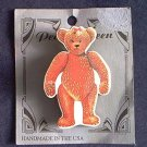 PEACHY KEEN TEDDY BEAR PIN~BROWN AND WHITE~HANDMADE IN USA~CUTE