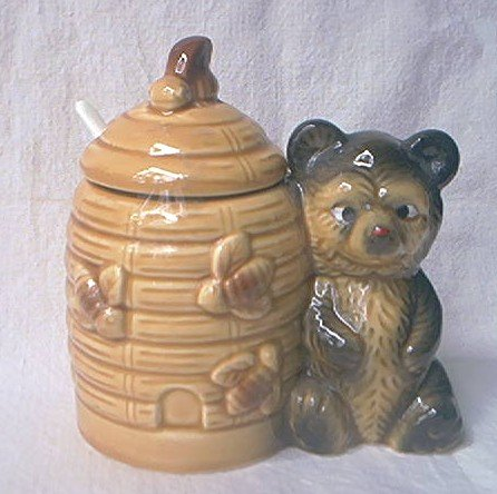 VINTAGE BEEHIVE HONEY POT JAR ~JAPAN~POST WAR~HONEY BEAR~CUTE
