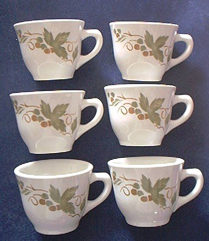 JACKSON CHINA CUP SET OF 6 ~GRAPEVINE~RESTAURANT~appear never used