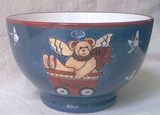 SUSAN WINGET ICE CREAM BOWL~TEDDY BEAR~ANGEL~WHITE/BLUE/RED