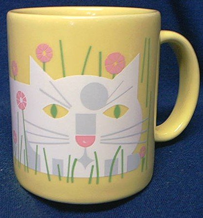 EDIE HARPER DESIGNER CAT MUG~YELLOW WITH KITTY CAT 1987
