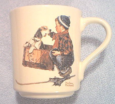 NORMAN ROCKWELL MUG ~A BOY AND HIS DOG~1984~BROWN AND BIGELOW 1956