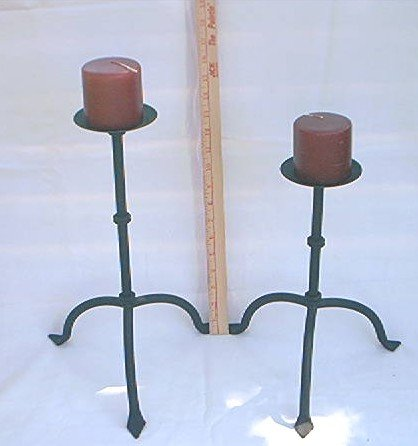 2 IRON METAL CANDLESTICKS STANDS ~BLACK ~UNLIT BLK CHERRY CANDLES~MODERN ANDIRON STYLE~UNUSUAL