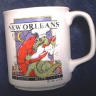 NEW ORLEANS COOKING WITH JAZZ SOUVENIR MUG 1985 ~SHRIMP ~GATOR CHEF