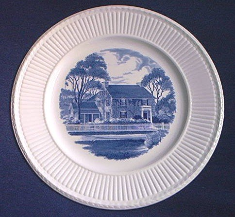 WEDGWOOD SIBLEY HOUSE COMMEMORATIVE PLATE~ BLUE AND WHITE~SIGNED ~ENGLAND