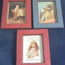 FRAMED VINTAGE ADVERTISING PRINTS REPRODUCTIONS ~SET OF 3~AYERS/BABY WITH COCOA/ CAT WITH BOTTLE