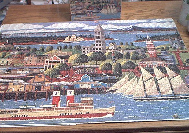 HOMETOWN 1000 COLLECTION JIGSAW PUZZLE~HERONIM WYSOCKI~SEATTLE WASHINGTON~HAS ALL PCS~SHIPS
