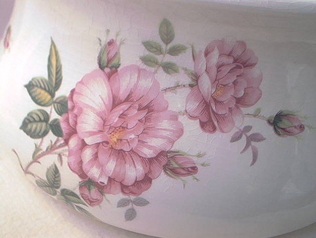 PORTMEIRION CHAMBER POT LARGE PINK ROSES SHABBY PRETTY ENGLAND VINTAGE