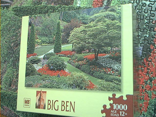 M BRADLEY BIG BEN JIGSAW PUZZLE ~1000 PCS~GARDENS IN CANADA~COMPLETE~PRETTY