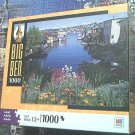 M BRADLEY BIG BEN JIGSAW PUZZLE ~1000 PCS~HOUSE BOATS SEATTLE WA~COMPLETE