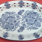 BLUE AND WHITE FLORAL RIBBON PIERCED OVAL PLATTER ~CHINA~PRETTY