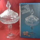 DIAMOND POINT TALL CANDY BOX DISH ~INDIANA GLASS~CRYSTAL~0132~70's BOX