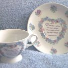 "HELEN STEINER RICE POEM CUP AND SAUCER SET ~""WHERE THERE IS LOVE.."""