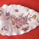 LEFTON CHINA LEAF DISH ~ROSES~BUTTERFLY~ELEGANT~hand painted
