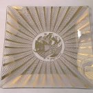 GEORGES BRIARD SQUARE GLASS TRAY DISH ~GOLD~DESIGNER~ABSTRACT CENTER~RAYS