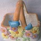 VINTAGE TELEFLORA BLUE BIRD BASKET ~CERAMIC~FLOWERS~CENTERPIECE~APPLIED BIRDS
