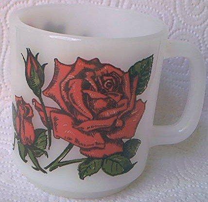 VINTAGE GLASBAKE ROSE LOVE MUG ~MILK GLASS~ ROSE SYMBOL ~LANGUAGE OF FLOWERS