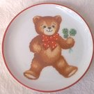 TEDDY BEAR PLATE ~WEST GERMANY~SHAMROCKS~REUTTER PORZELLAN