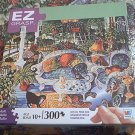 M BRADLEY EZ GRASP JIGSAW PUZZLE ~WHITE WICKER SUMMER~COMPLETE~300 LARGE PIECES~CATS~BILL BELL