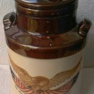 McCOY WOODEN EAGLE CANISTER COOKIE JAR ~AMER. FLAG~BROWN/CREAM~SPIRIT OF 76~bicentennial