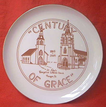 CENTURY OF GRACE COMMEMORATIVE CHURCH PLATE ~ST. JOHN'S EVANGELICAL LUTHERAN~FLANAGAN, ILL~1984