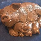 RED MILL MFG SOW HOG PIG WITH PIGLETS FIGURINE ~ USA MADE~ORIG STICKER~HOGSTEAD