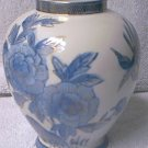 BLUE AND WHITE FLORAL VASE ~RED MARK JAPAN~GOLD TRIM~4.5 INCH