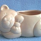 SNOOZING BEAR PLANTER ~PINKISH BEIGE~ 6 INCHES LONG~CUTE BABY DECOR