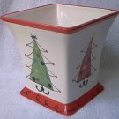 FTD ADVERTISING CHRISTMAS VASE CACHEPOT PLANTER ~SYTLIZED TREES