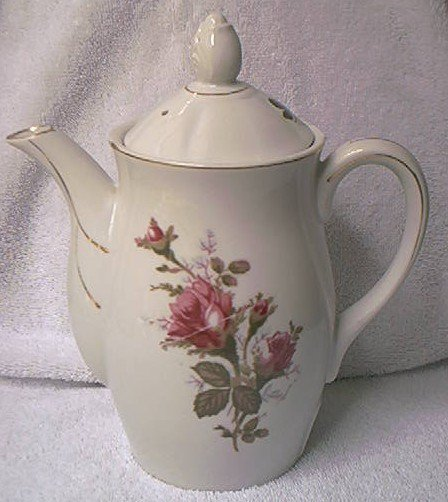 VINTAGE MOSS ROSE  ELECTRIC TEA COFFEE POT ~JAPAN~GOLD TRIM