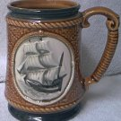 VINTAGE SAILING SHIP CERAMIC MUG ~JAPAN ~ROPE DESIGN~BROWN ~BLACK