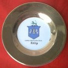 KELLY COAT OF ARMS PLATE ~ARKLOW POTTERY~ REPUBLIC OF IRELAND~GOLD~4 IN