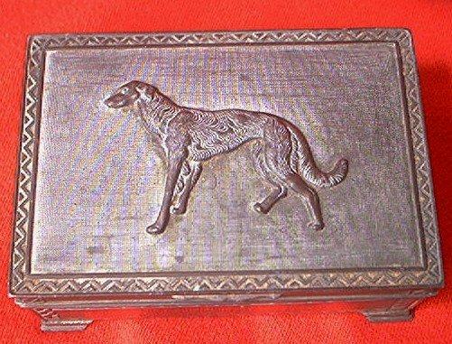 VINTAGE BRONZE METAL CIGARETTE TRINKET BOX ~JAPAN~50'S~WOLFHOUND DOG ON LID~RISING SUN