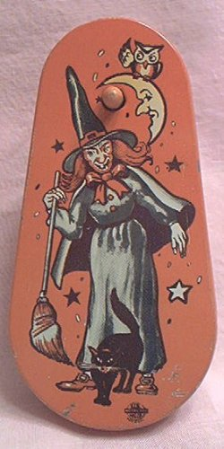 Vintage Tin Halloween Witch Noise Maker Us Metal Toy Mfg