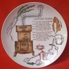 VINTAGE ENESCO KITCHEN PRAYER PLATE ~JAPAN~GOLD~60s~7.5 IN