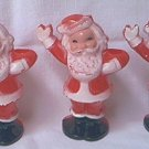 VINTAGE HARD PLASTIC 1950'S SANTA CHRISTMAS CANDLE OR CANDY CANE HOLDERS ORNAMENTS ~SET OF 3