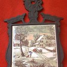 VINTAGE CAST IRON CURRIER AND IVES TILE TRIVET ~THE HOMESTEAD IN WINTER~ROOSTER FINIAL~JAPAN