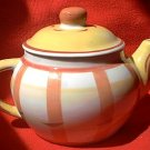 ORANGE AND YELLOW PLAID INDIVIDUAL 1-2 CUPS TEA POT