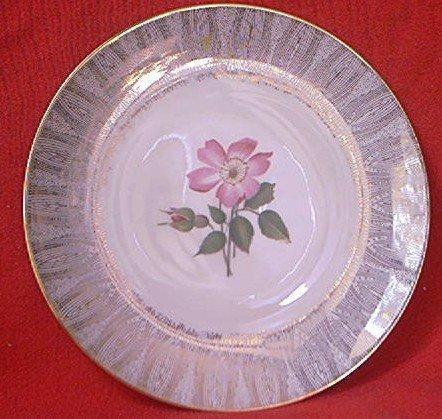 vintage elfenbein porzellan bavaria germany salad dessert plate pink rose and bud gold trim. Black Bedroom Furniture Sets. Home Design Ideas