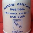 WEST GERMAN MUG STEIN TANKARD ~1965/1966 GERSZEWSKI BARRACKS NCO CLUB US ARMY CHRISTMAS