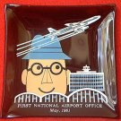 RETRO BLACK GLASS ADVERTISING ASHTRAY ~FIRST NATIONAL AIRPORT OFFICE~1961~AIRPLANE
