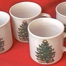 BADCOCK HOME FURNISHINGS SET OF 4 CHRISTMAS TREE CUPS MUGS~ADVERTISING~3 IN