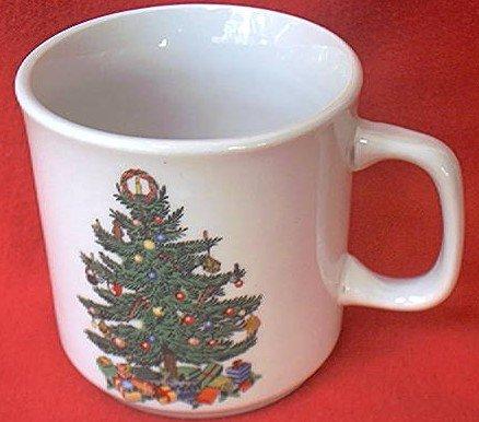 BADCOCK HOME FURNISHINGS CHRISTMAS TREE CUP MUG~ADVERTISING~3 in