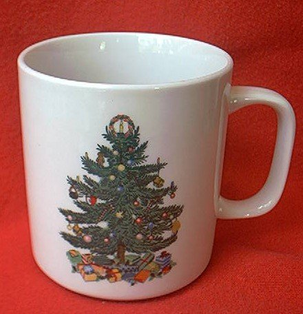 BADCOCK HOME FURNISHINGS CHRISTMAS TREE MUG~PREMIUM~3.5 IN~ADVERTISING