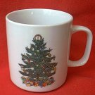 BADCOCK HOME FURNISHINGS CHRISTMAS TREE MUG~PREMIUM~3.5 IN~ADVERTISING~flaws