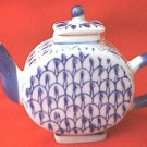 SMALL 3.75 INCH BLUE AND WHITE TEAPOT FIGURINE--DECOR ONLY~CHINA