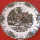 JOHNSON BROS. THE FRIENDLY VILLAGE THE LILY POND DINNER PLATE ~10.5 IN~ENGLAND~RED COVERED BRIDGE